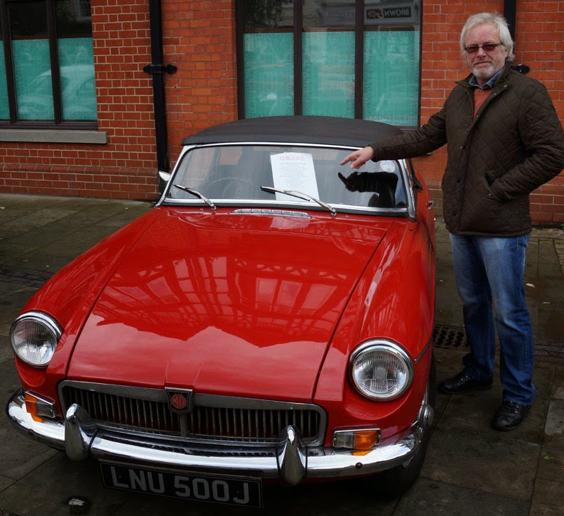 Coun Carl Sherwood at the TSW Printers Border Classic Car Run in Brigg 2014 - picture on Nigel Fisher's Brigg Blog