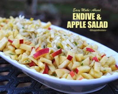 Easy Make-Ahead Endive & Apple Salad with Curry Vinaigrette by A Veggie Venture