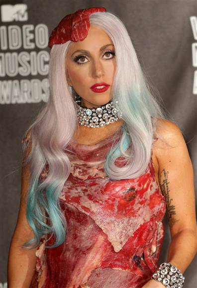 lady gaga meat dress costume. lady gaga meat dress shoes.