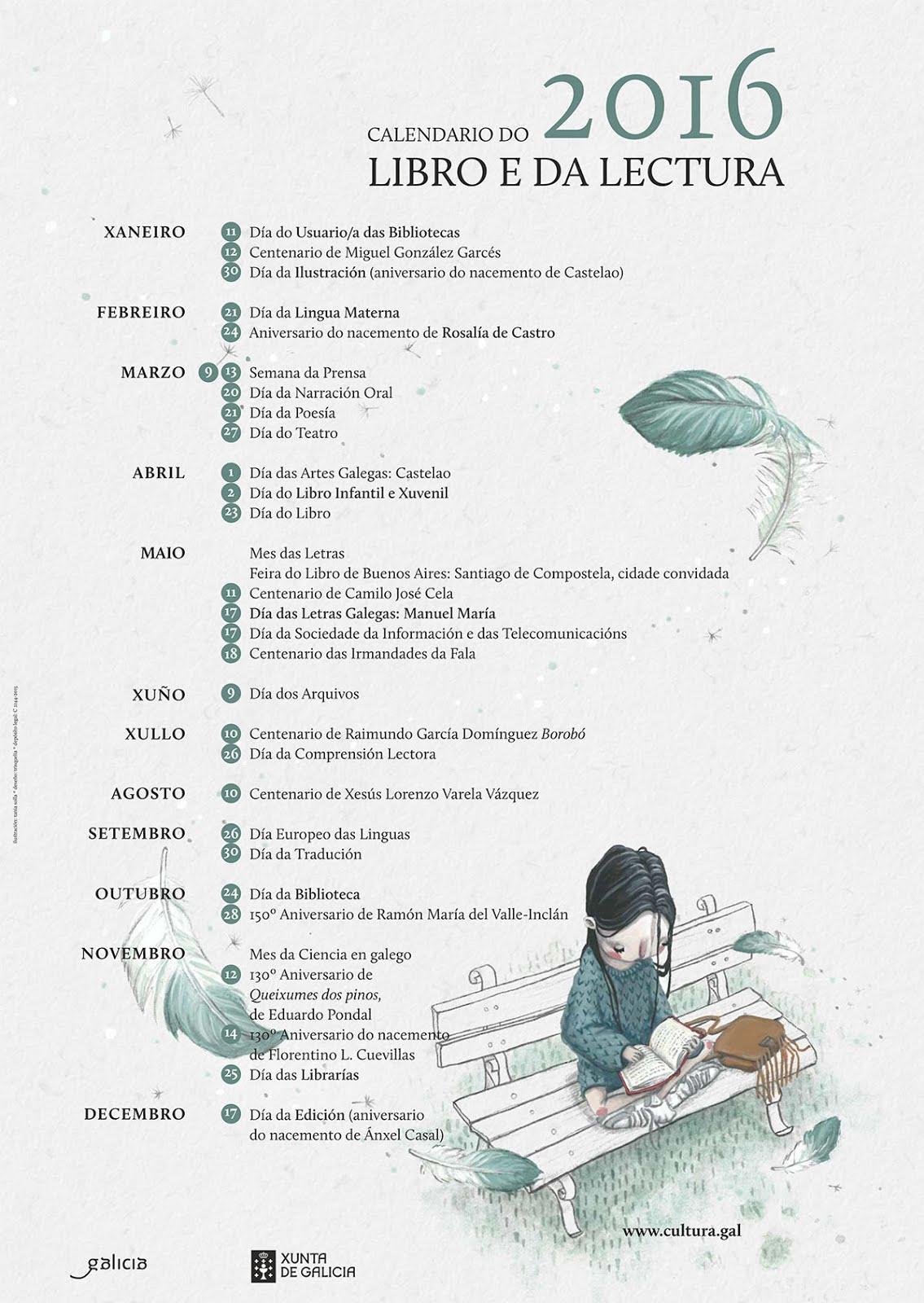 Calendario do libro e da lectura 2016