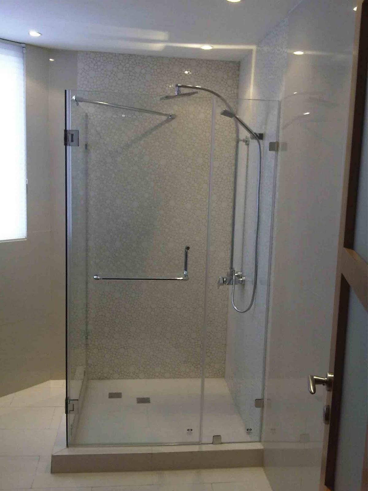 Puertas De Baño Aluminio:Puerta de Baño Batientes Vidrio-Vidrio
