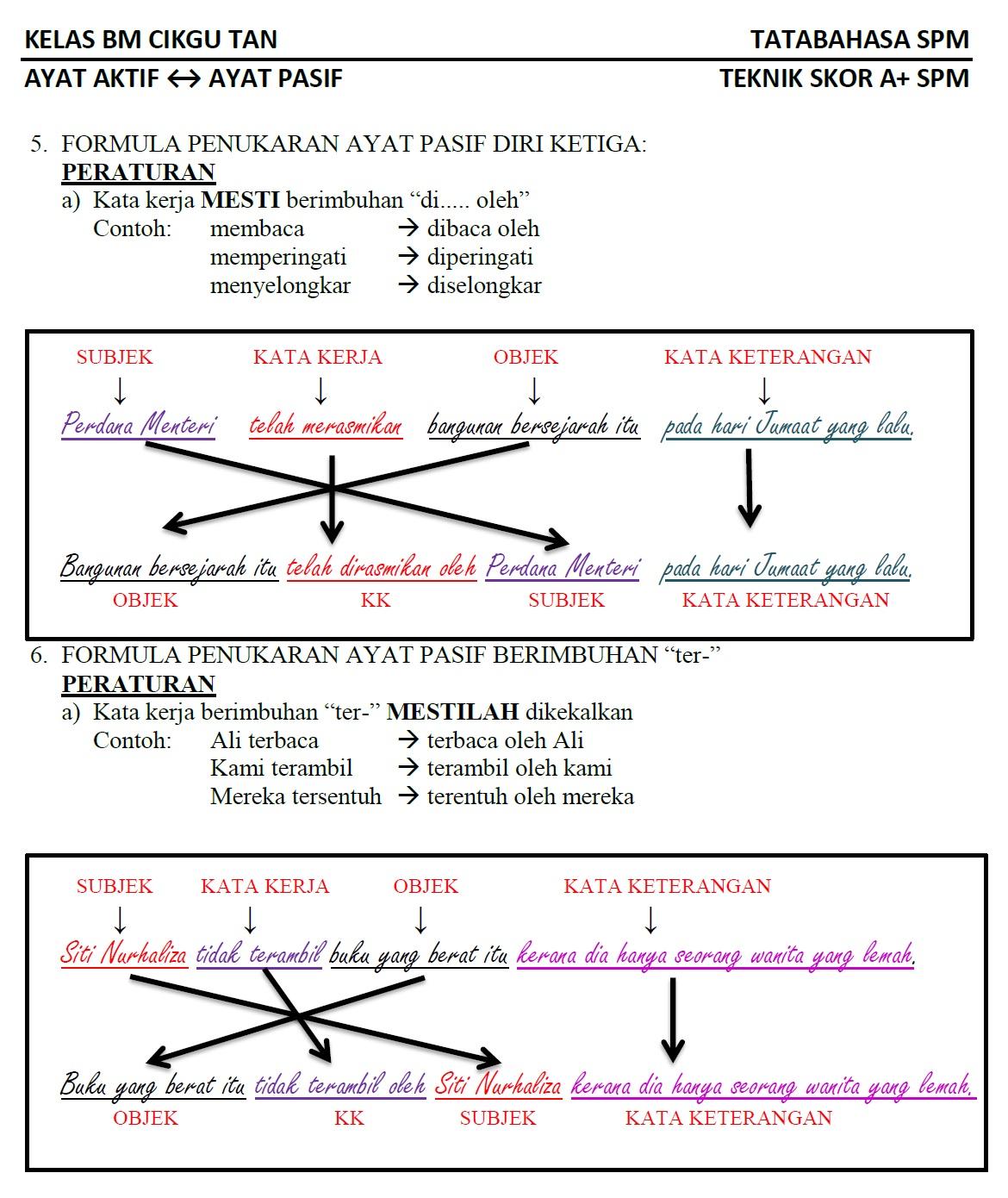 Laman Blog Cikgu Tan Cl Ayat Aktif Kepada Ayat Pasif