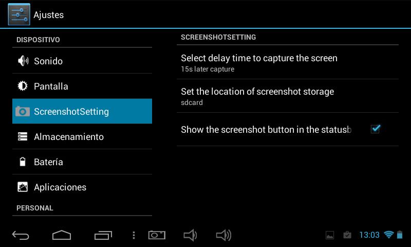 """3. Ajustamos el tiempo de captura de pantalla en """"Select delay time to capture the screen""""."""