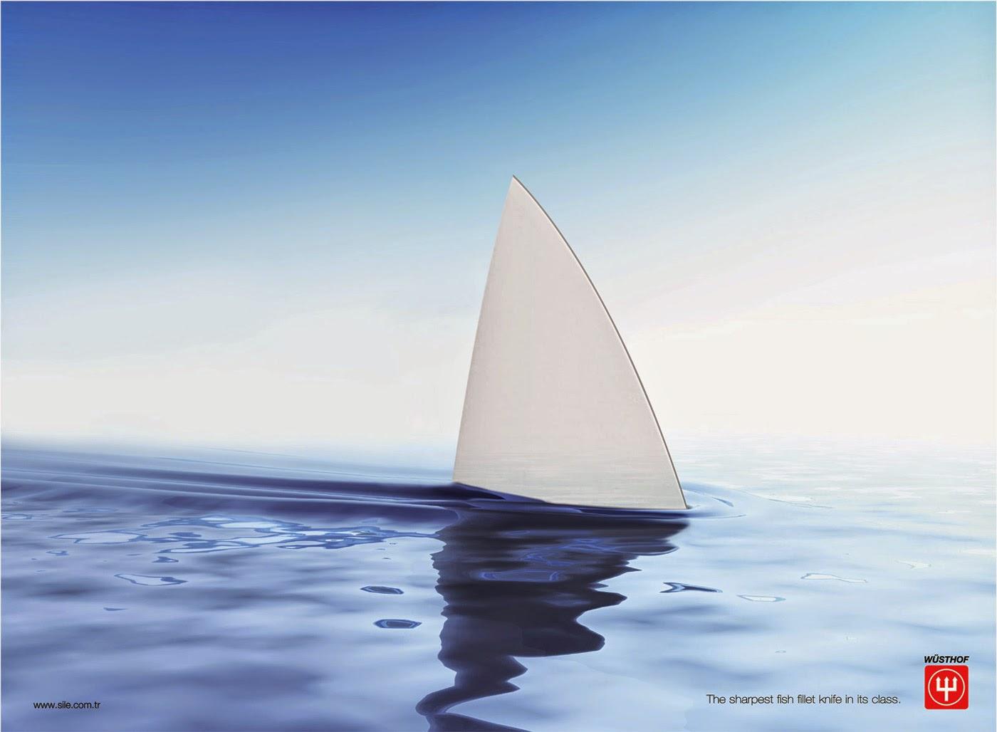 Annonce publicitaire pour les Couteaux Wusthof - aileron de requin