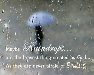 Maybe raindrops... are the bravest thing created by god... As they are never afraid of falling.