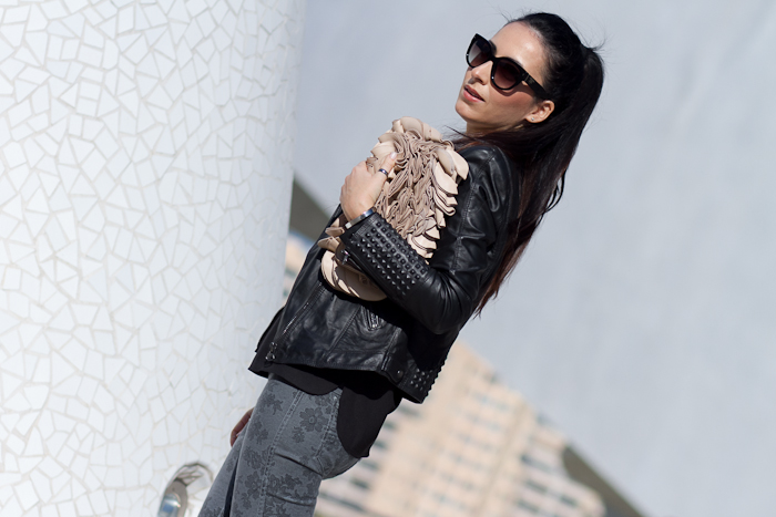 Fashion Blogger withorwithoutshoes in a Studded Biker Jacket and Meltin' Pot Reversible Jeans