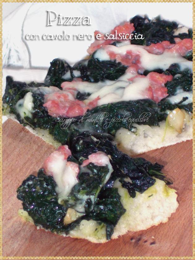 Pizza con cavolo nero e salsiccia