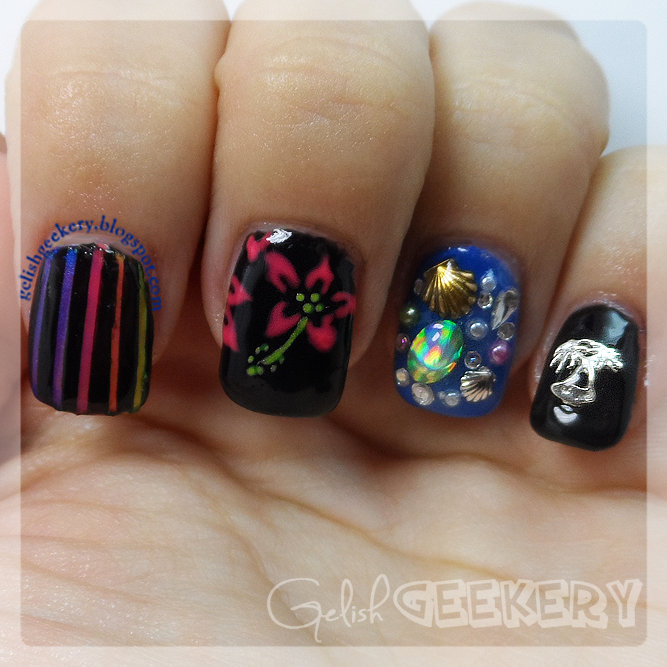 Gelish Tropical Neon Nails