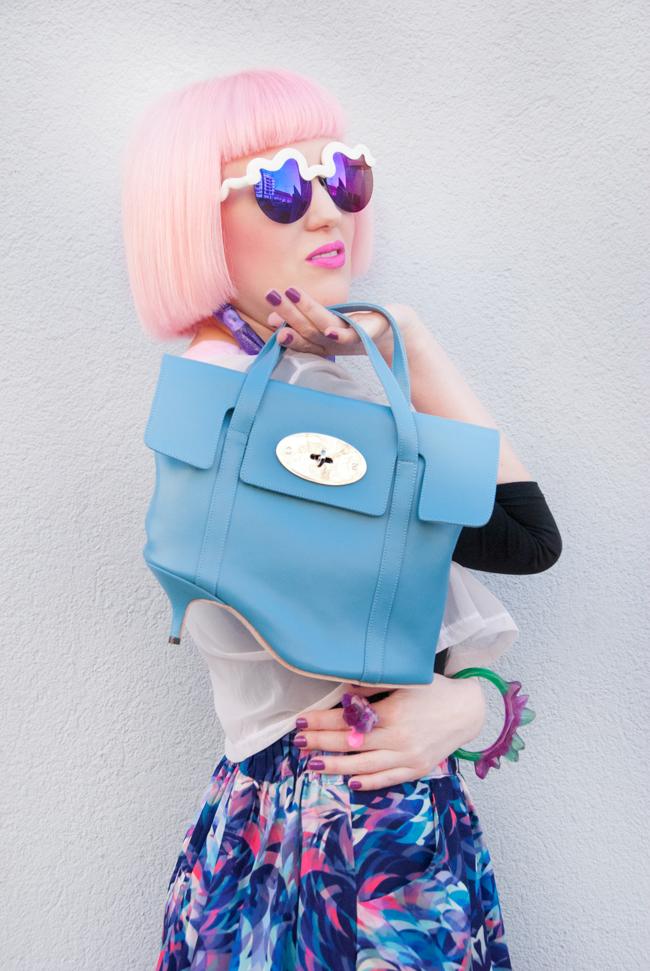 azumi and david heel bag, pastel look, textile federation skirt
