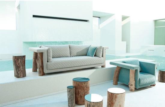 muebles con troncos de madera espacios en madera