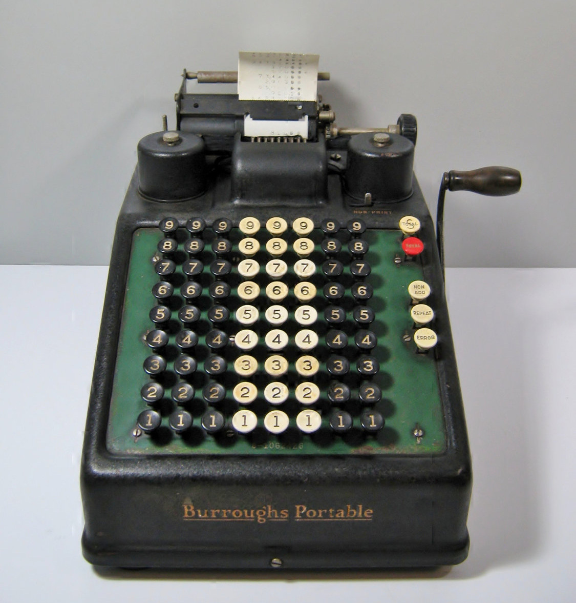 the adding machine A later adding machine, called the comptometer, did not require that a crank be pulled to add numbers were input simply by pressing keys the machine was thus driven by finger power.
