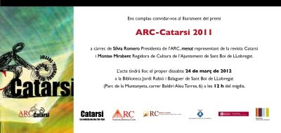Lliurament del premi ARC-Catarsi 2011