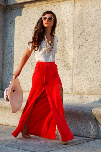 Street Wear, Red Maxi Skirt, 4th of July Outfit, Gold Chains