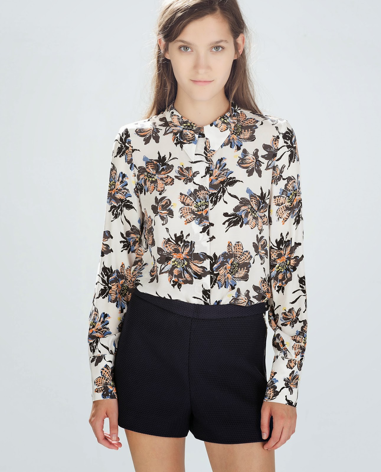 zara patterned blouse