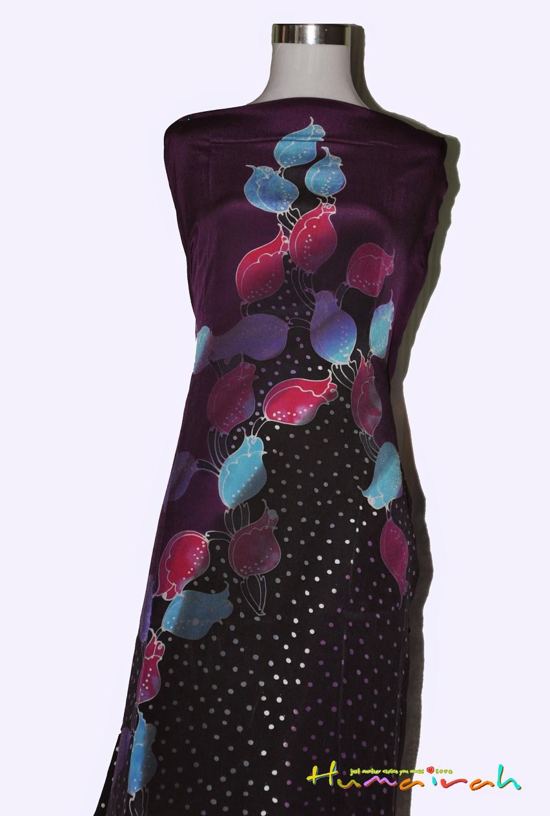 CX87 Batik Sutera Exclusive - Bunga Mawar Purple dan Hitam