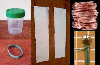materiales para el experimento de la botella de leyden