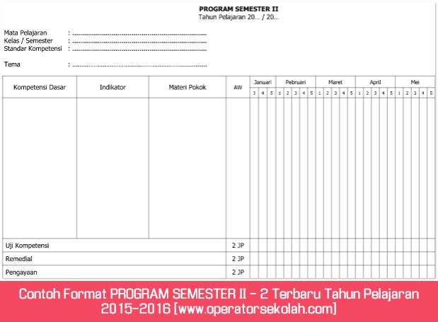 Contoh Format PROGRAM SEMESTER II - 2 Terbaru Tahun Pelajaran 2015-2016 [www.operatorsekolah.com]