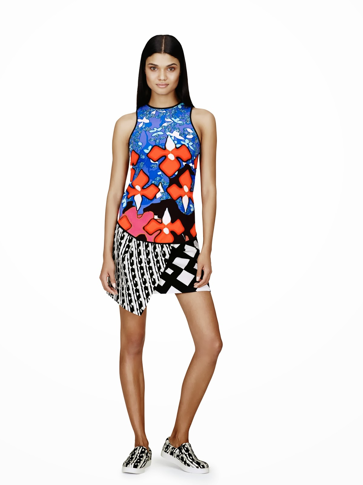 Peter-Pilotto-Target, tan-top, floral, blank-and-white-shorts, Spring-Summer-2014