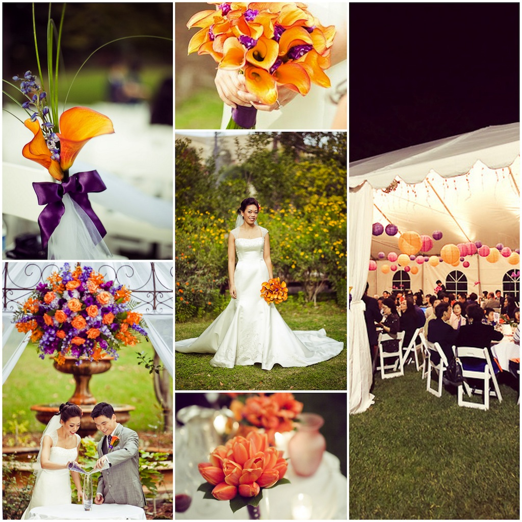 A purple and orange wedding theme makes for a surprisingly stunning pair. Whether you want to go on the brighter side with blazing tangerine and violet or on the.