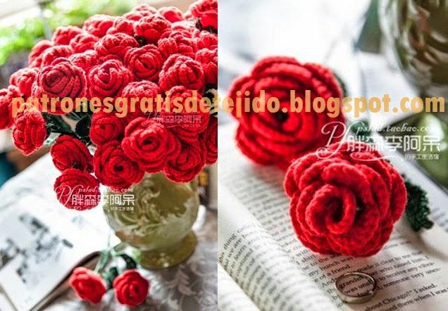 Rosas rococó tejidas al crochet | Crochet y Dos agujas - Patrones de ...