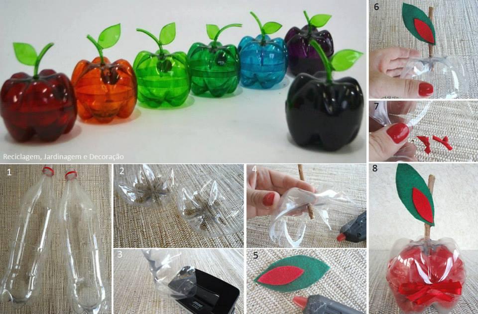 Como hacer manzanas de pl stico reciclando botellas - Que se puede hacer con botellas de plastico ...