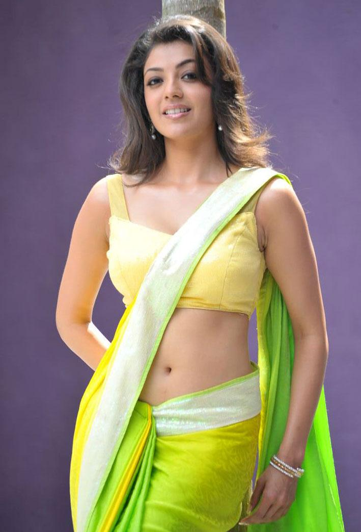 Kajal Agarwal Spicy Photos In Yellow and Green Saree