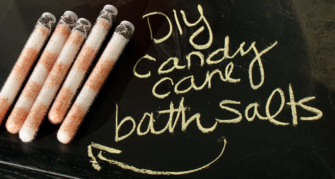 DIY Homemade Natural Candy Cane Bath Salts Recipe - Great Stocking Stuffer Gift Idea