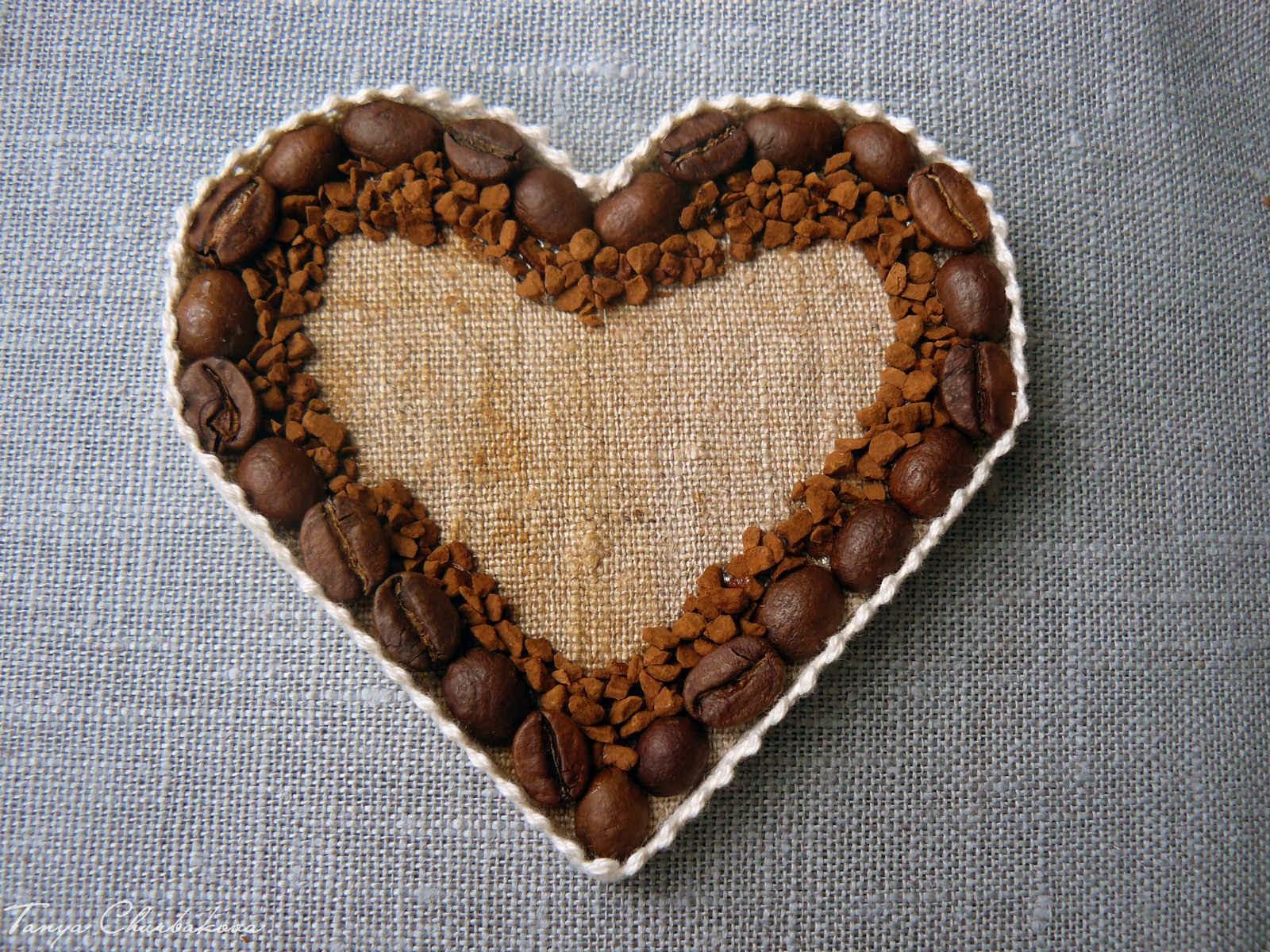 Сердце из кофейных зерен своими руками. Мастер-класс 85