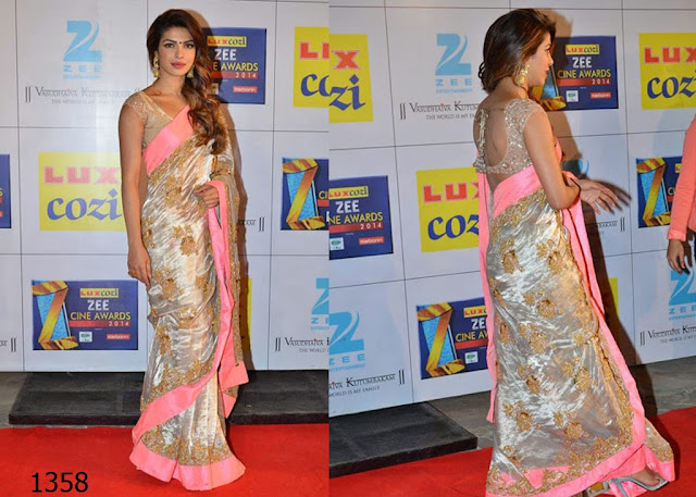 1358-Priyanka Chopra white-golden sequined saree with broad neon pink borders complimented her look1