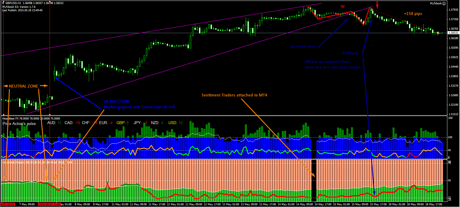 Real time forex sentiment indicator