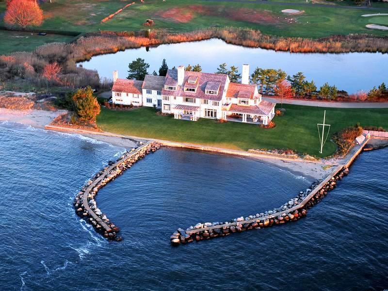 aerial view of katharine hepburn's waterfront connecticut home