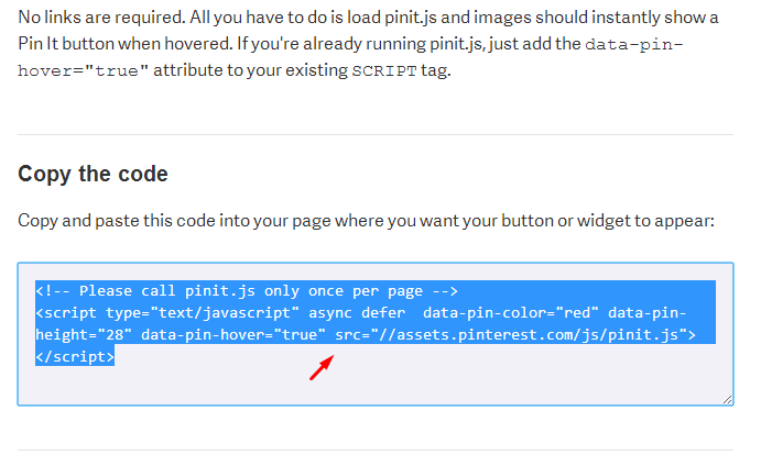 Code HTML Button Pin It