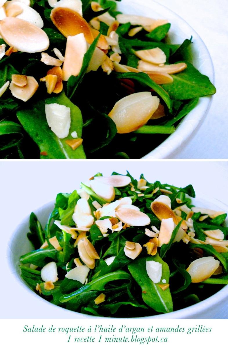 1 recette 1 minute salade de roquette l huile d argan et aux amandes grill es. Black Bedroom Furniture Sets. Home Design Ideas