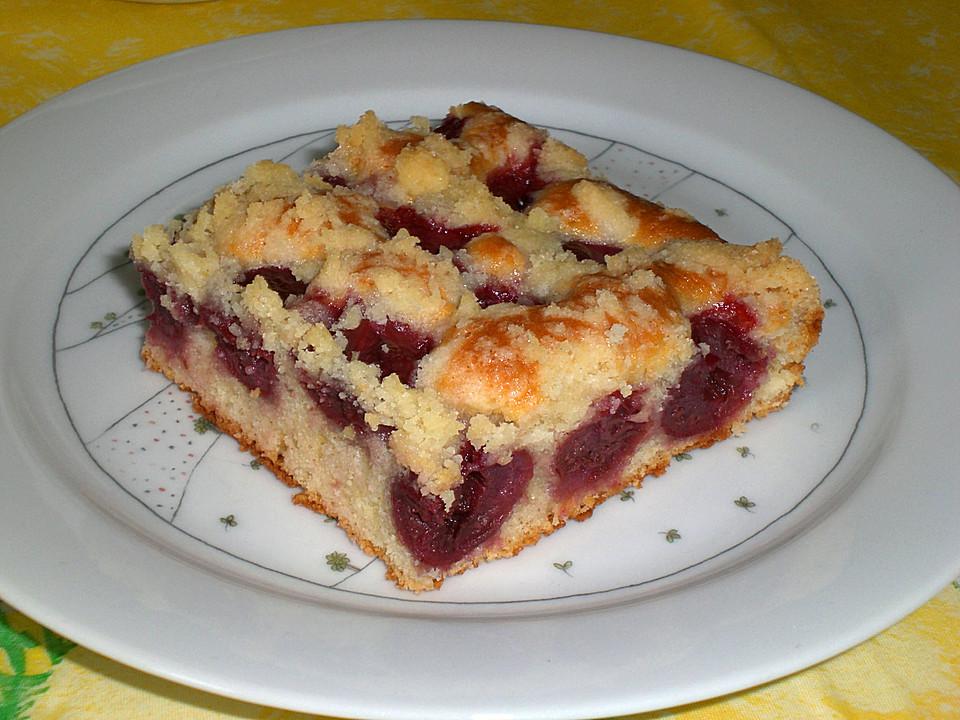 Backen Kochen Kirsch Streusel Kuchen