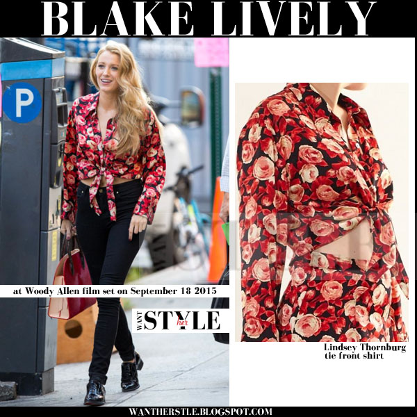 Blake Lively in red rose print shirt movie set september 2015