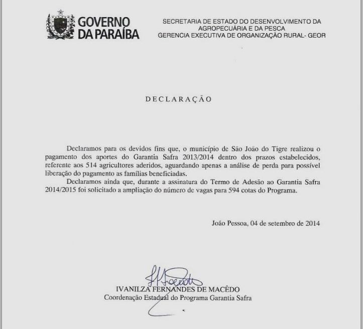 Prefeitura de São João do Tigre presta contas a população