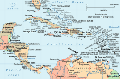 Map of Caribbean Sea Area