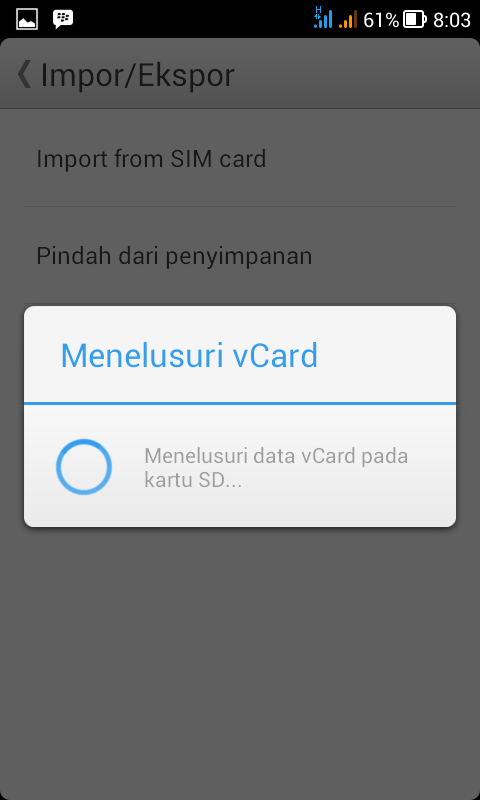 Mencari file Vcard