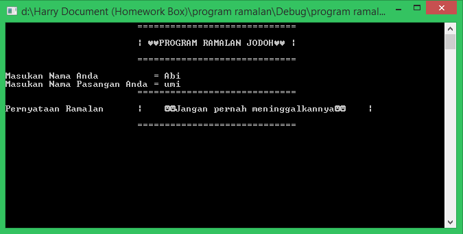 Program Ramalan Jodoh C++ (struct dan variabel dalam proosedur)