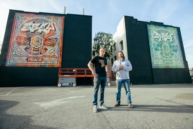 Shepard Fairey and RISK just wrapped up this sweet new collaboration somewhere on the streets of Los Angeles, USA.