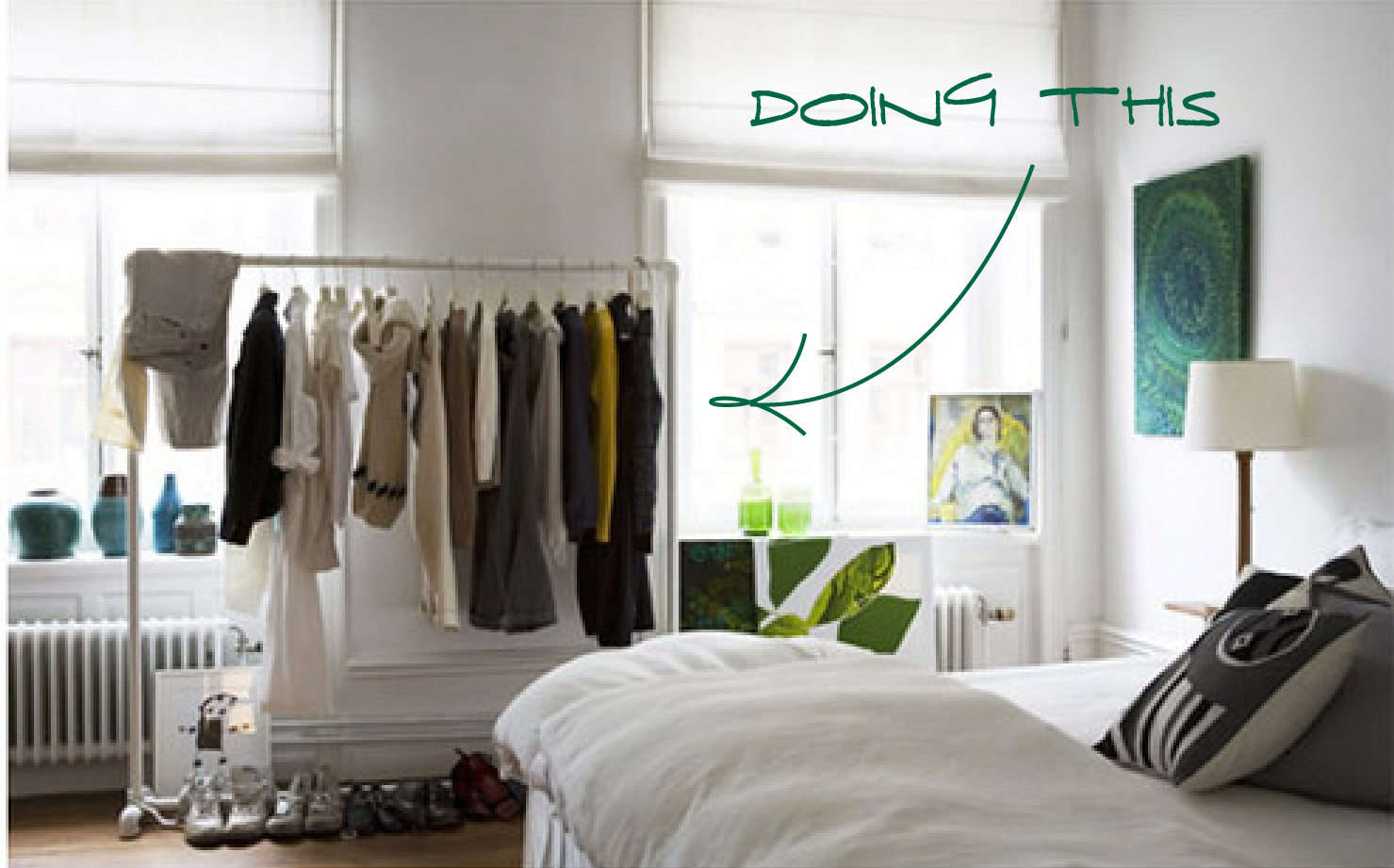 Just b b sorted no closet solution - Wardrobe solutions for small spaces paint ...
