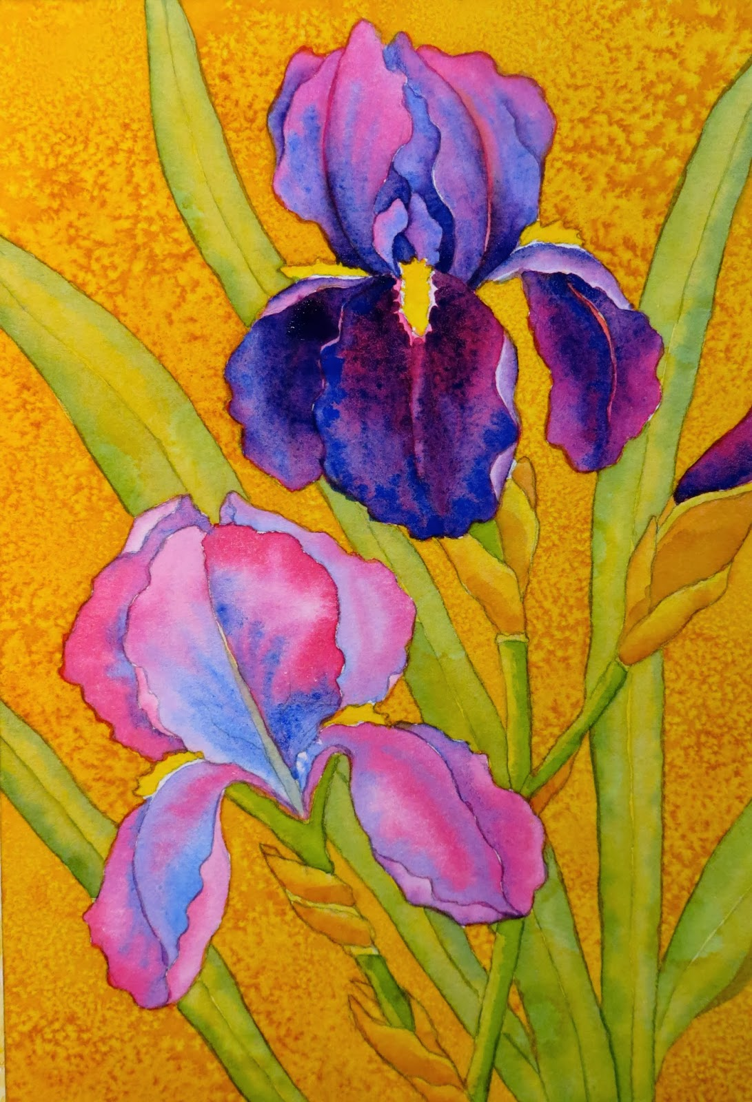 The painted prism watercolor workshop painting bearded irises you can see how you dont darken every part of each petal and that the bottom falls are generally darker than the upper petals izmirmasajfo