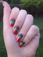 Rainbow gradient with black leopard print
