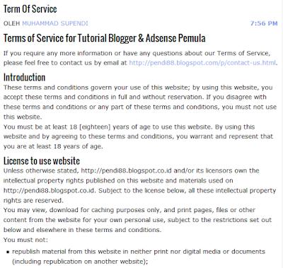 cara membuat tos (term of service) untuk blog