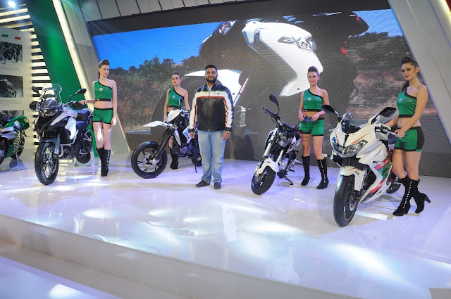 L to R - TRK 502, BX 250, Mr. Shirish Kulkarni, Chairman, DSK Motowheels, TNT Naked T-135, Tornado 300