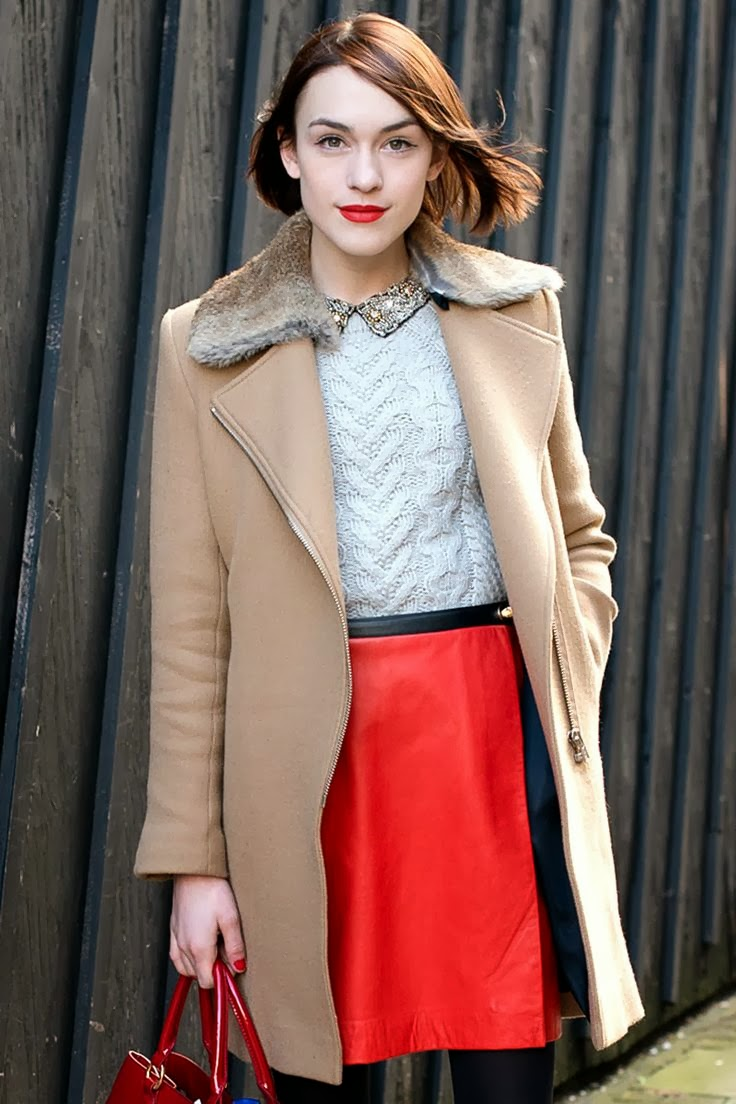 Red mini skirt, long camel coat and white sweater