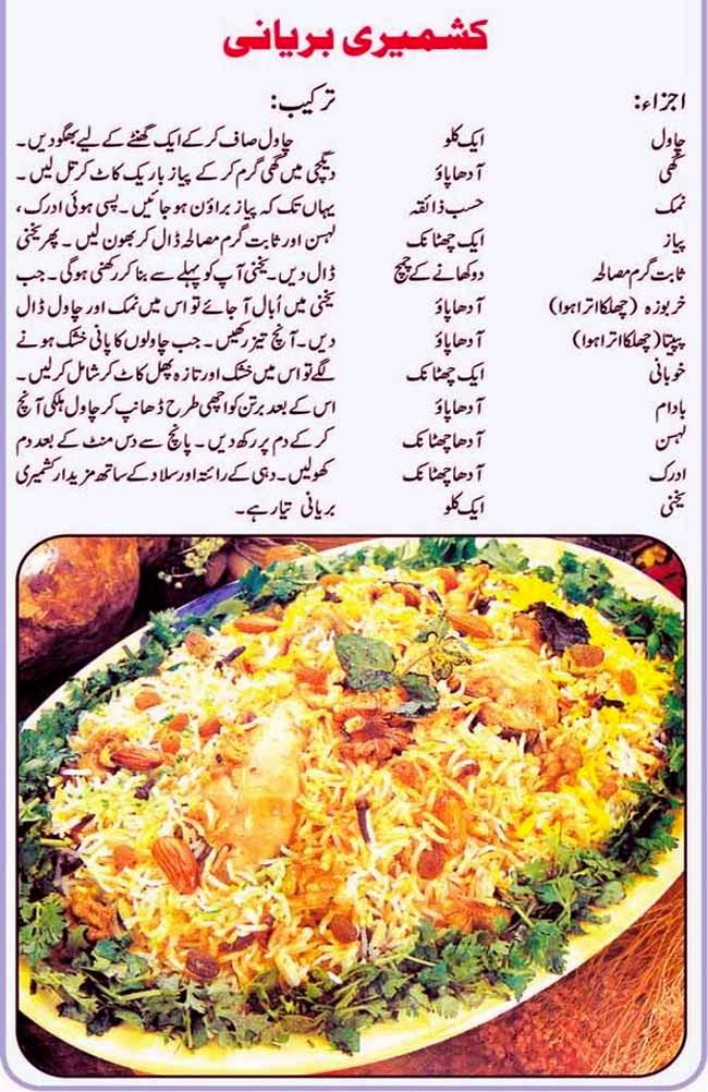 Urdu Recepies 4u Urdu Food Recipe Kashmire Birani