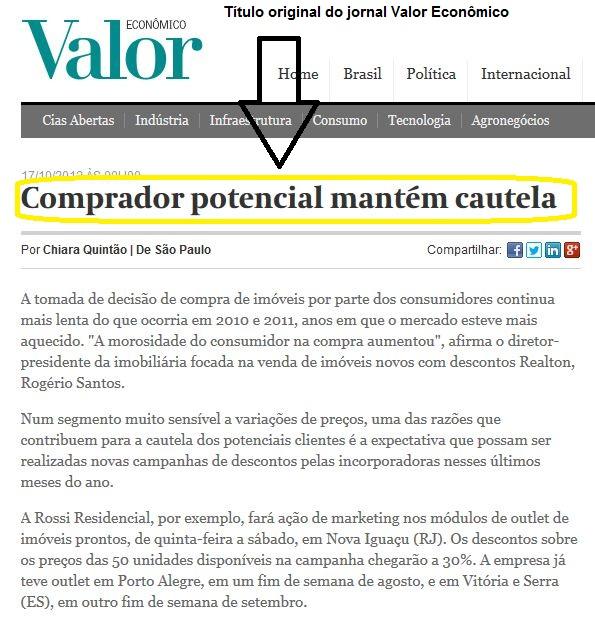 Reprodução parcial da matéria original do jornal Valor Econômico