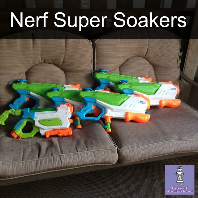 HASBRO, Nerf Super soakers, water fight birthday party, summer birthday, outdoor fun, boys 8th birthday