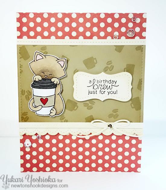 Coffee Cat Birthday Card by Yukari Yoshioka | Newton Loves Coffee Stamp set by Newton's Nook Designs #newtonsnook #coffee